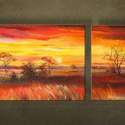 Olieverf schilderij Landschappen 2 delig 2105FA