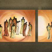 Olieverf schilderij Figuren 2 delig 4032FA