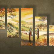 Olieverf schilderij Afrika 5 delig 4037FA