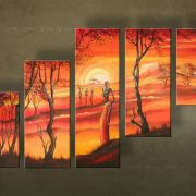 Olieverf schilderij Afrika 5 delig 4155FA